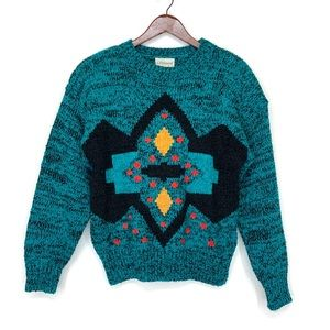 Ugly Tribal Geometric Knit Sweater 80's 90's Vntg